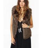 Diseño de moda las mujeres sin mangas de piel falsa chaleco de la capa caliente