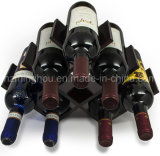 Cremalheira de indicador de madeira do vinho da borboleta do armazenamento do projeto compato 8-Bottles