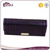 Тонкий кожаный бумажник для женщин, пурпуровая оптовая продажа бумажника неподдельной кожи крокодиловой кожи цвета