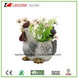 Plantadores encantadores del jardín de la estatua del gallo de la resina para la decoración casera