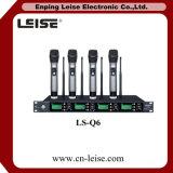 Ls-Q6 Quatre canaux audio numérique UHF Microphone sans fil