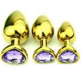 il sesso anale della spina di estremità di vendita 5PCS/Lot del cuore dei monili di cristallo a forma di dorati caldi dell'acciaio inossidabile gioca i formati medio 35mm x 80mm GS0314