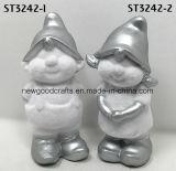 Regali rivestiti di natale bianco del muschio festivo del Figurine