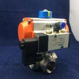 Válvula de esfera pneumática de 3 maneiras do fim de linha do aço inoxidável com atuador