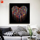 Impression simple abstraite moderne de toile de chrome de coeur