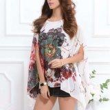 Sommer-Abnützung-Tuch für Frauen-reizvoller Flügel-Hülsen-loser Kimono-Chiffon- Blumendruck-Bluse übersteigt Blusas