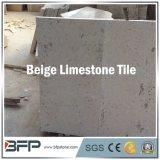 Pedra calcária bege natural da telha de assoalho do baixo preço com superfície afiada
