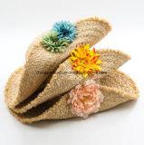 Hermosa costumbre rafia paja Sun Beach visera de sombrero con la flor Decrate (CPA_90060)