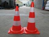 Cone vermelho contínuo reflexivo High-Intensity do tráfego do PVC 550mm da faixa