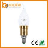 Luz de la vela de la cubierta de cristal E14 LED Dimmable con extremidad de la llama