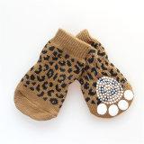 Leopard Sexy Knitting Anti-Skid Printing Paws Pet Socks