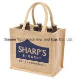 Promotion Sac à bandoulière en jute brodé écologique personnalisé avec poignées à corne nouée