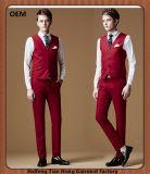 Kundenspezifische neue Form 3 Stück-rote Mann-Hochzeits-Smokinge