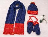 2017 Winter-warme Wollen strickten die eingestellten Hut-Schal-Handschuhe mit der Hand