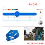 Wristbands ajustáveis da microplaqueta da identificação do silicone ISO14443A Ntag215 para a identificação