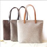 Soem-Erzeugnis passte Firmenzeichen gedruckte fördernde Baumwollsegeltuchtote-Strand-Handtasche an (6525)