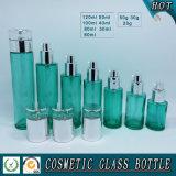 Frasco de creme de vidro cosmético de vidro colorido verde vazio do frasco e do cosmético