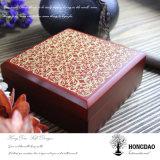 Caixa de jóia de madeira do logotipo do ouro de Hongdao com forro de veludo
