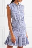 Горячее сбывание 2017 Striped фабрика одежды платья женщин Хлопк-Поплина сексуальная