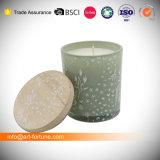 Duft-duftende Glasglas-Kerzen mit hölzerner Kappe