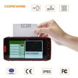 Escáner de código de barras portátil de PDA de la pantalla táctil de 5 pulgadas Escáner androide del lector de código de barras del explorador del código de barras de Hf UHF