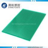 Painel oco plástico do policarbonato verde revestido UV por Lexan