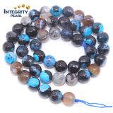 도매 Gemsotne는 크기 6을 8장의 10장의 12mm 섞인 파란 자연적인 파란 마노 석판 좌초시킨다