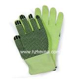 Многоточия PVC отрезали упорную перчатку работы безопасности зеленого цвета Hi-Визави перчаток