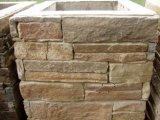 Coluna amarela dourada natural do cimento da pedra da ardósia (SMC-PC014)