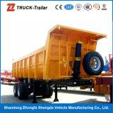 3axles de gebruikte Aanhangwagens van de Vrachtwagen van de Stortplaats voor Verkoop met de Parabolische Lente van het Blad