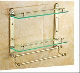 Due strati della radura della stanza da bagno temperata/cremagliera/mensola del vetro temperato