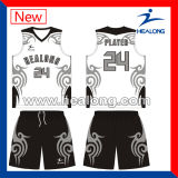 Basquetebol Eco-Friendly cheio Jersey do azul de céu do Sublimation da tintura de Healong