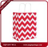 2017 sacs promotionnels de cadeau de transporteur de zigzag noir avec le traitement Twisted