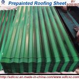 Folha de aço ondulada galvanizada (Prepainted) revestida cor da telhadura