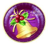 Плита устранимой рождественской вечеринки 9 дюймов бумажная