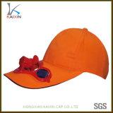 Gorra de béisbol en blanco llana del casquillo del ventilador de la energía solar con el ventilador