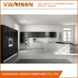 Schwarzer festes Holz-Küche-Luxuxschrank mit Schüttel-Apparatmuster-Tür
