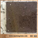 Preço de fábrica artificial da laje de quartzo da cor de Brown