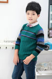 Karen-runder Ansatz-gerippte gestreifte Pullover-Jungen-Strickjacke