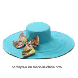 Bowknot Design를 가진 이중 면 Wide 빌 Cotton Beach Hat