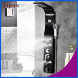 Fyeer Temperature Display Massagem Rainfall Stainless Steel Black Shower Panel