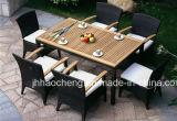 Rattan poco costoso del PE del giardino di vendita calda che pranza mobilia che pranza insieme