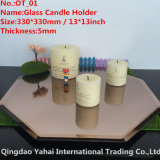 5m m Octagon Brown Glass Mirror Candle Holder