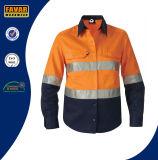 Ciao camicia arancione del Workwear di sicurezza del cotone Upf50+ della camicia lunga riflettente del manicotto di forza
