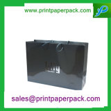 Saco de compra cosmético impresso costume do presente de papel luxuoso preto