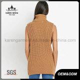 Jersey de punto de lana de cuello alto sin mangas de las señoras de tamaño postal