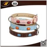 Il colore rosa Shinny il collare di cuoio dei gatti per gli accessori dell'animale domestico (HJ7108)