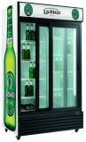 Showcase Refrigerated do refrigerador 600L do Showcase da porta de vidro de deslizamento supermercado ereto dobro