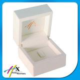 Caja de presentación de madera blanca de lujo determinada de empaquetado de la joyería de la joyería llena