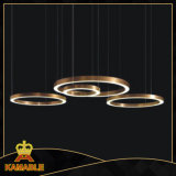 Lâmpada personalizada do pendente do diodo emissor de luz do aço inoxidável anel moderno (KAF6050)